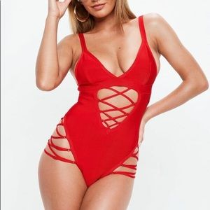 NWT Red Bandage Lace Up Cut-Out Swimsuit